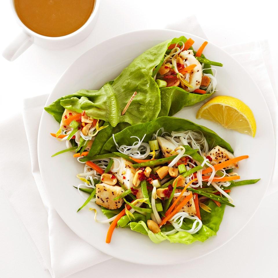 Thai Halibut Lettuce Wraps