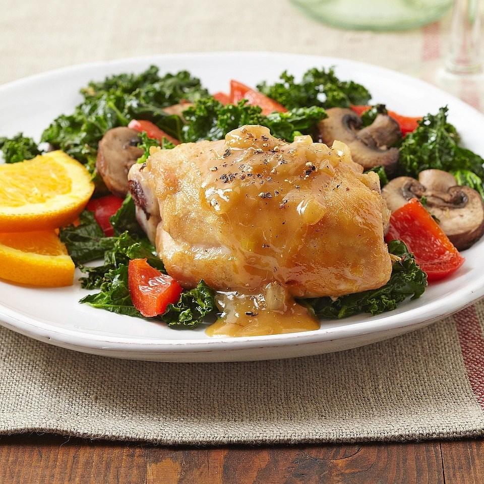 Sweet Orange Chicken over Kale