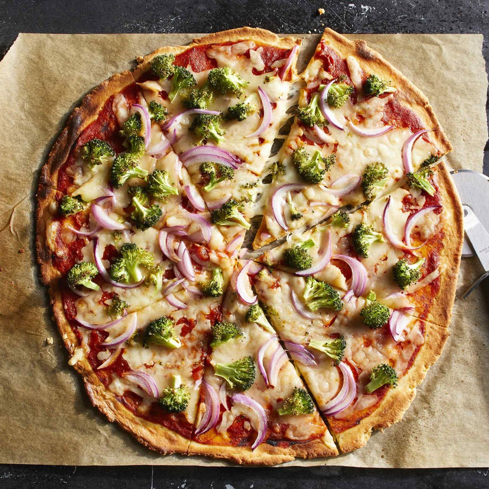 Cheese & Broccoli Almond-Flour Pizza
