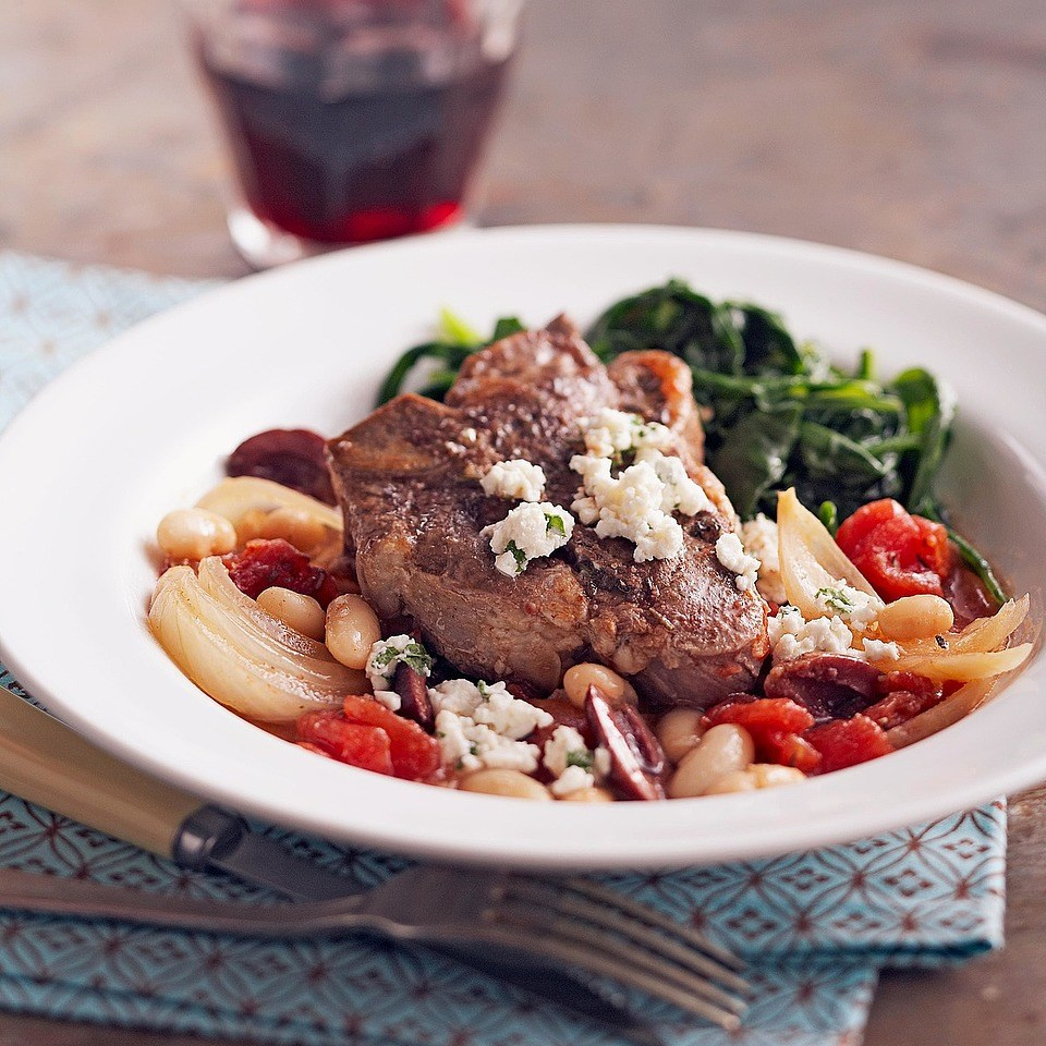 Greek Braised Lamb Chops with Herbed Goat Cheese