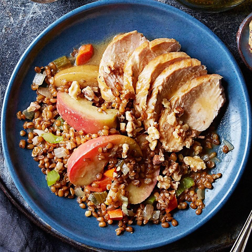 Dijon Turkey with Apple-Sage Wheat Berries