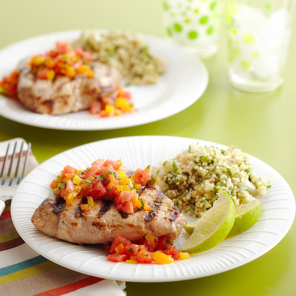 Grilled Tuna with Sweet & Hot Salsa