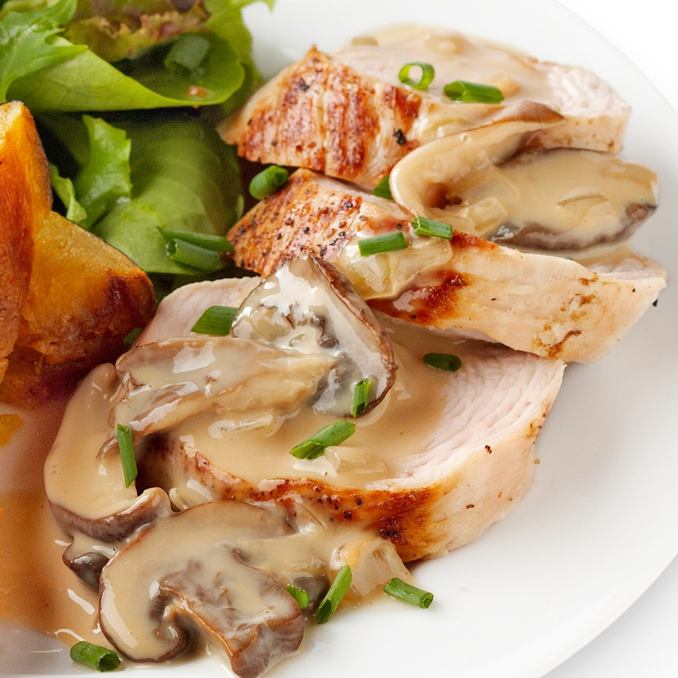 Turkey with Mushroom-Wine Sauce