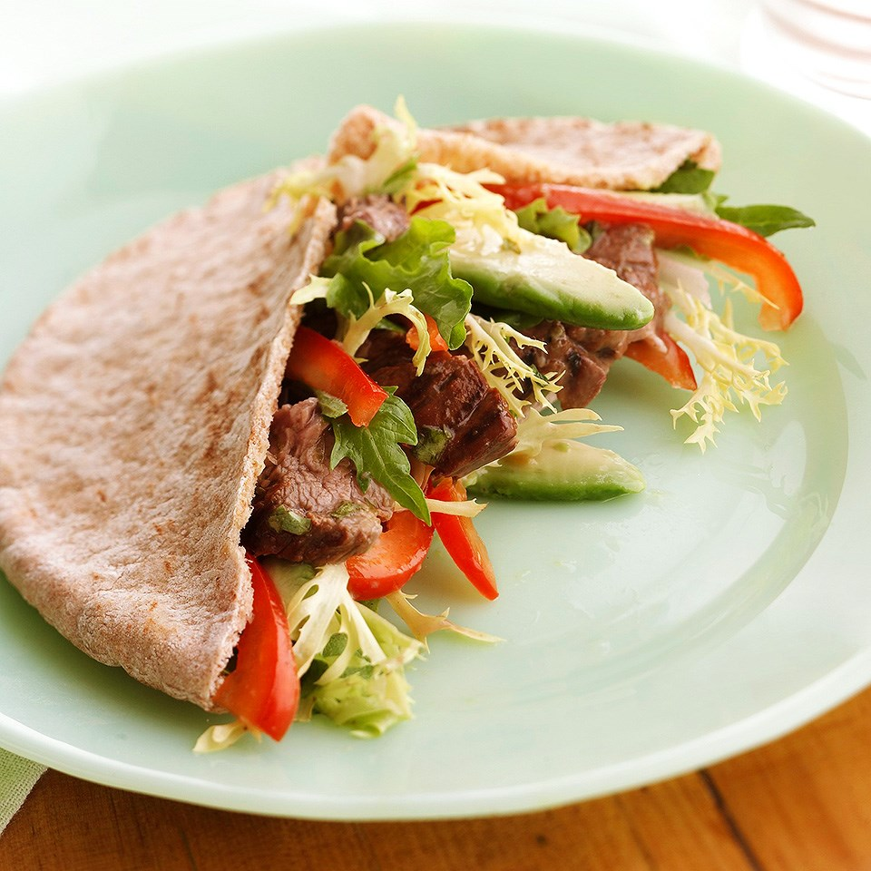 Grilled Beef and Avocado Pitas