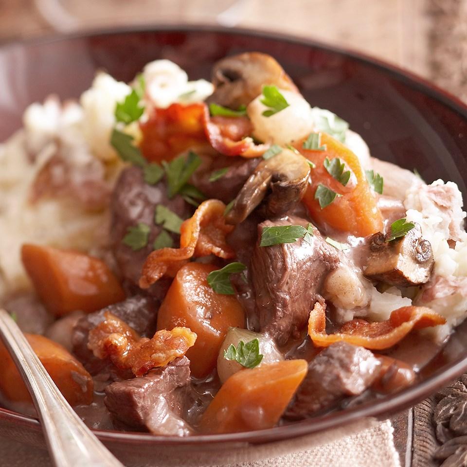 Beef Burgundy with Skins-On Garlic Mashed Potatoes