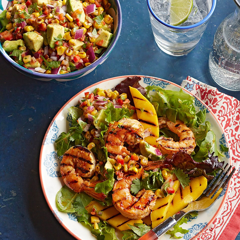 Shrimp and Mango Adobado Salad with Grilled Corn-Avocado Salsa