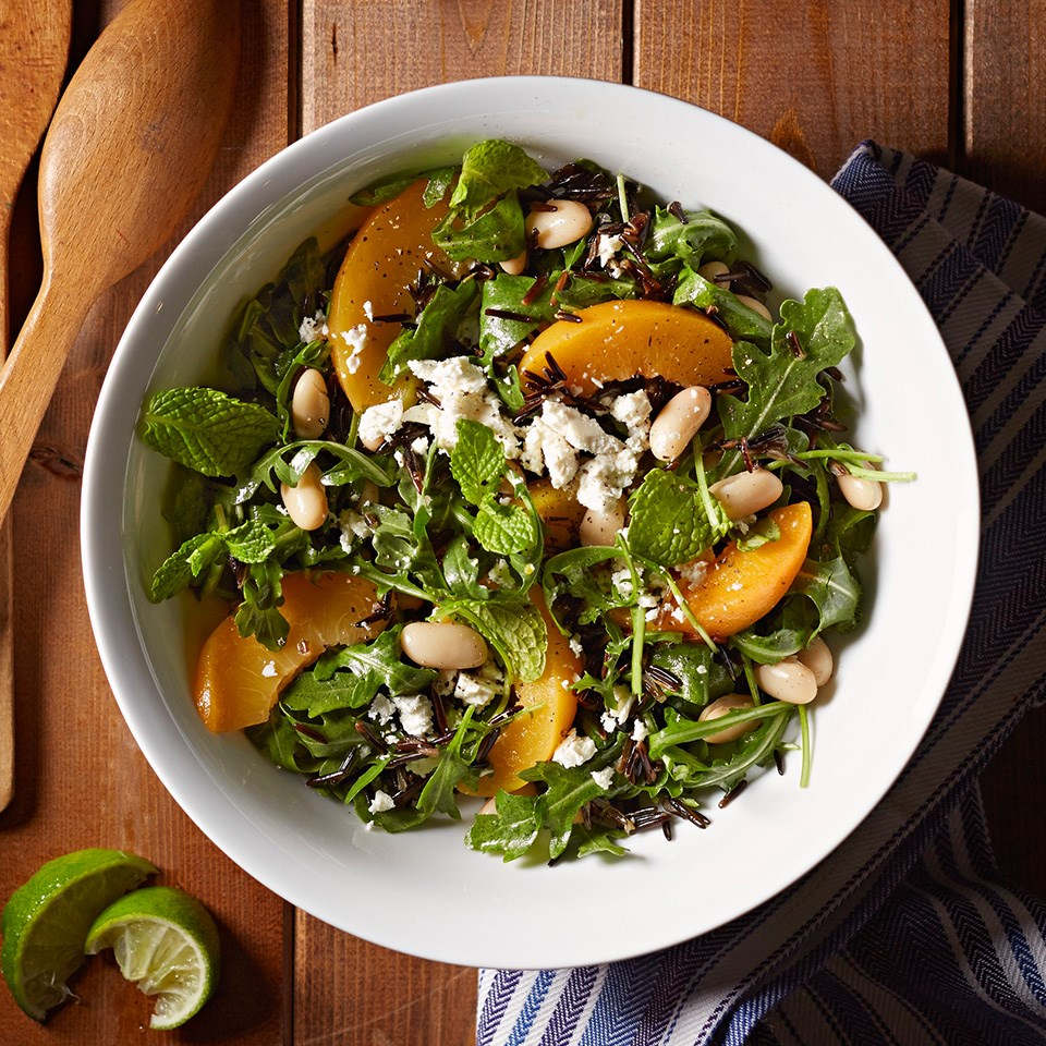 Wild Rice and Bean Salad with Peaches and Feta