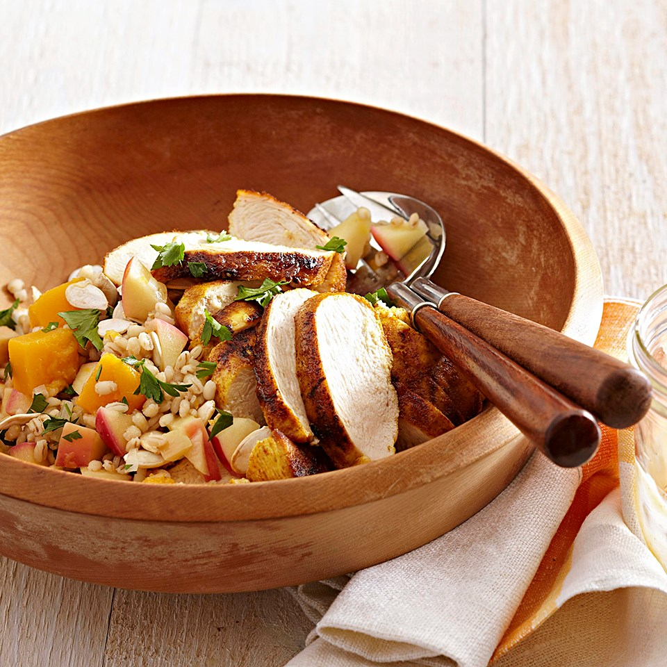 Chicken with Squash-Barley Pilaf