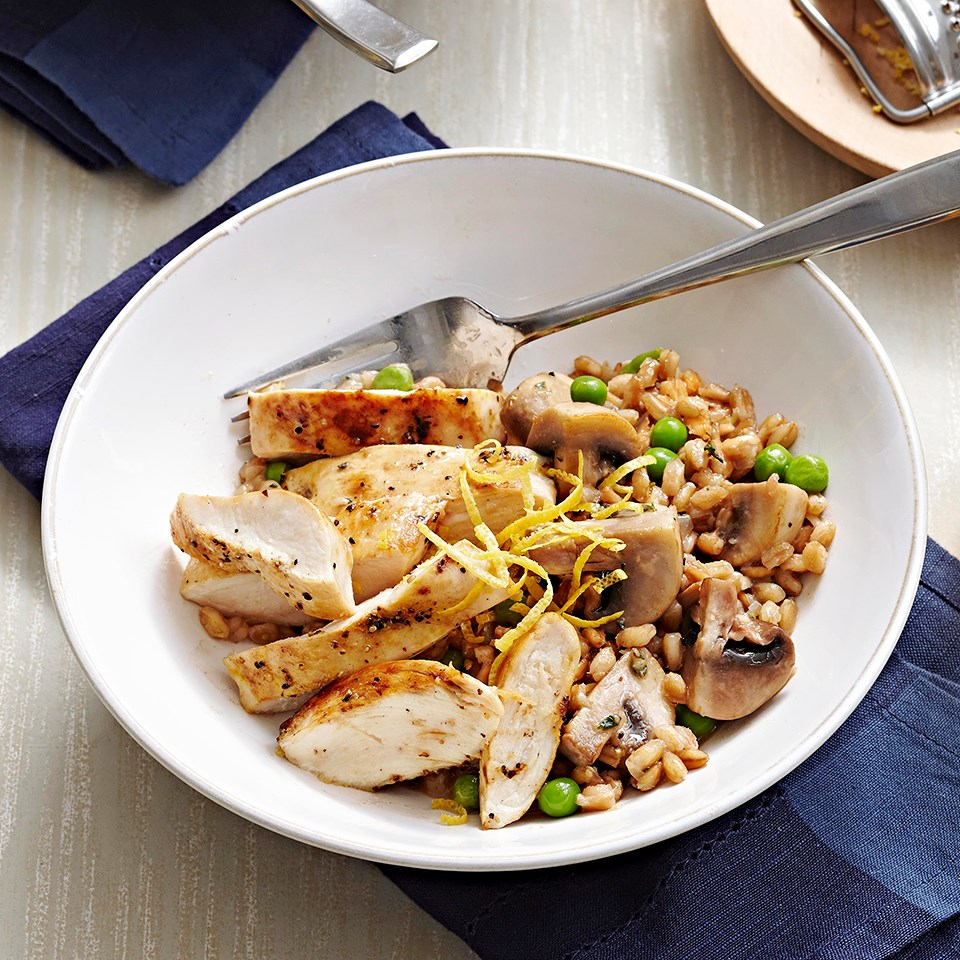Chicken, Spring Pea and Farro Risotto with Lemon