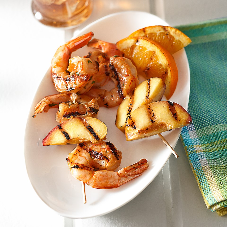 Spicy Grilled Shrimp and Nectarine Kabobs