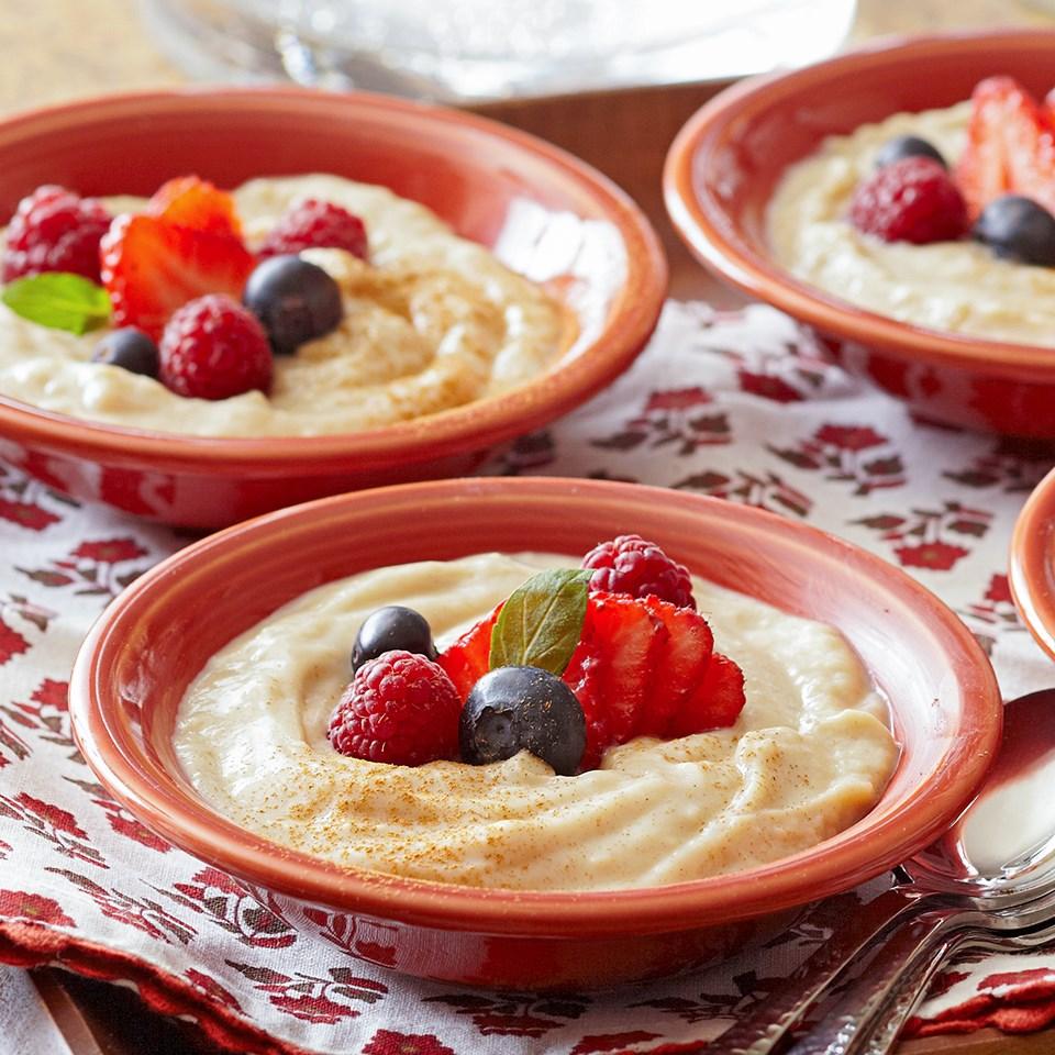 cinnamon custard with berries recipe eatingwell