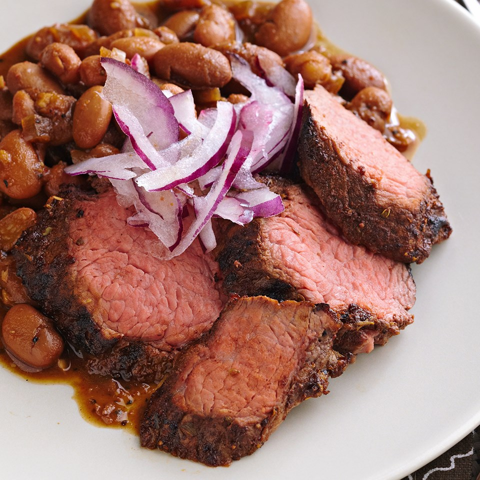 Coffee-Rubbed Beef with Red-Eye Beans Recipe