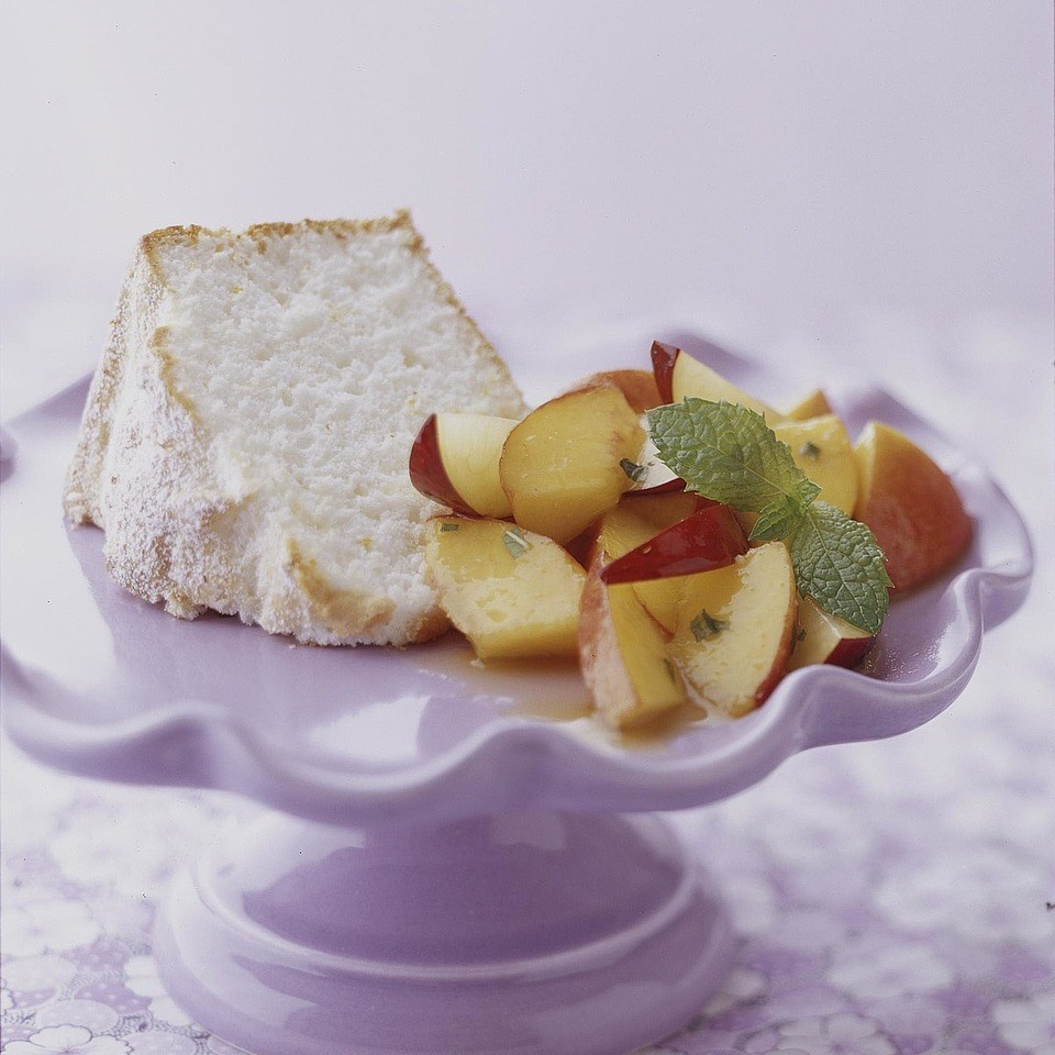 Citrus Angel Cake with Peach and Plum Salsa