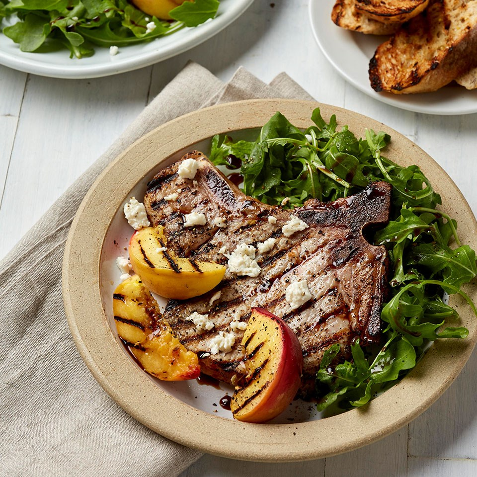 Bone-In Pork Chops with Grilled Peaches & Arugula
