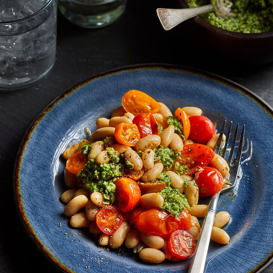 White Beans & Tomatoes with Kale Pesto