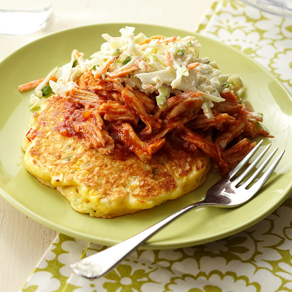 Corn Pancakes with BBQ Pulled Turkey and Coleslaw