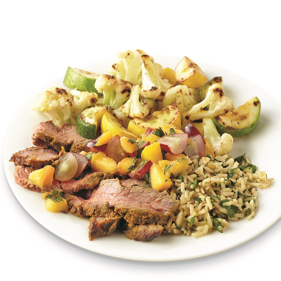 Indian-Spiced Beef with Peach-Grape Salsa