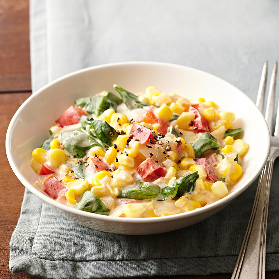 Creamed Corn with Red Peppers and Spinach