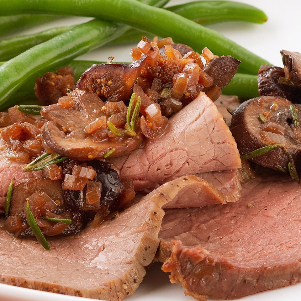 Roast Beef with Mushroom-Fig Sauce