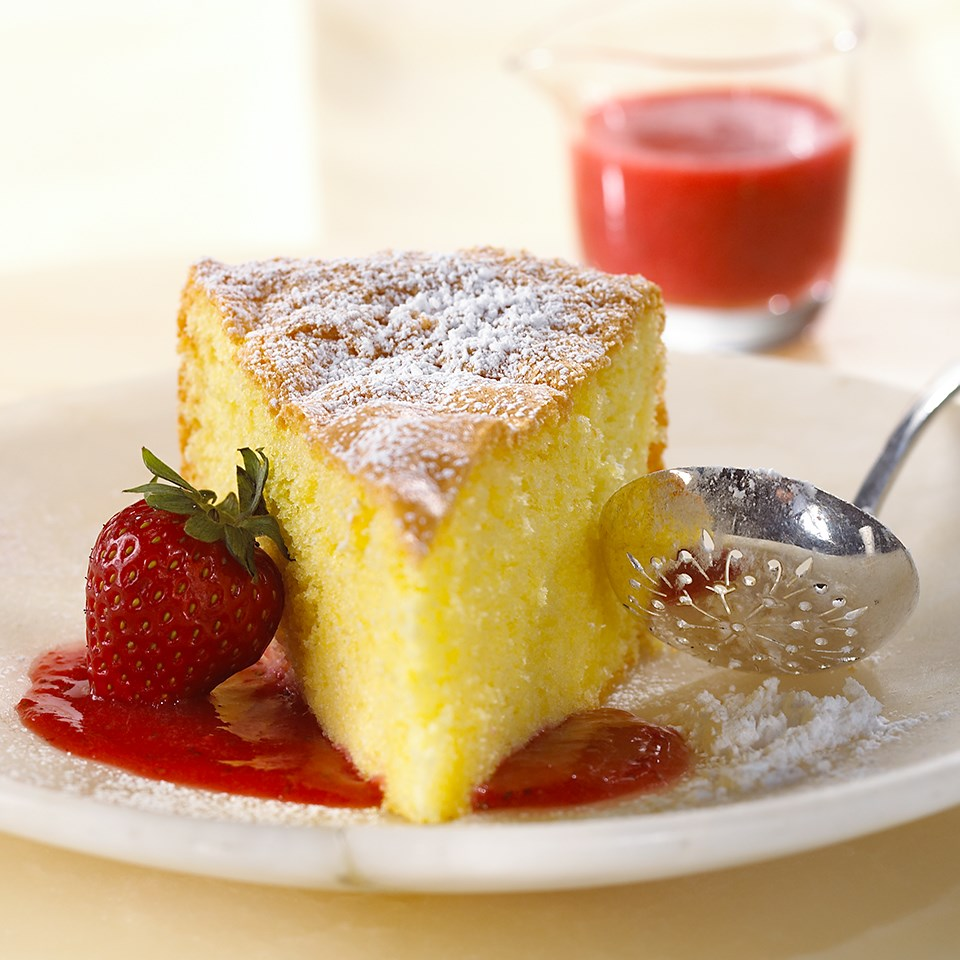 Olive Oil Genoise in Strawberry-Champagne Sauce