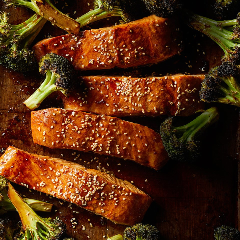 Ginger Roasted Salmon and Broccoli