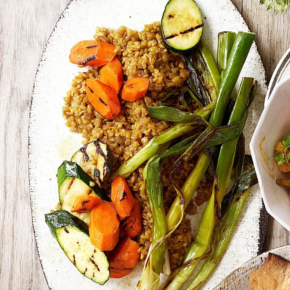 Freekeh with Grilled Vegetables (Frikeh bel Khodra)