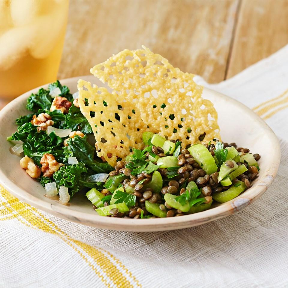 Lentil & Celery Salad with Sautéed Kale & Parmesan Crisps