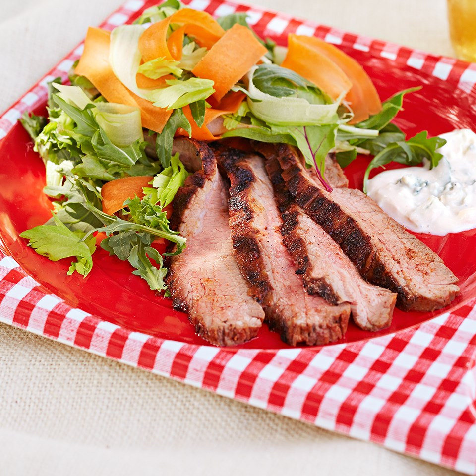 Buffalo-Spiced Steak Salad with Blue Cheese Dressing