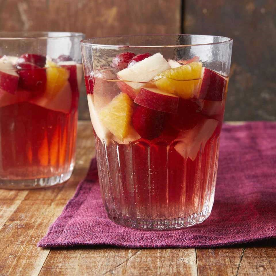 two glasses of cranberry sangria