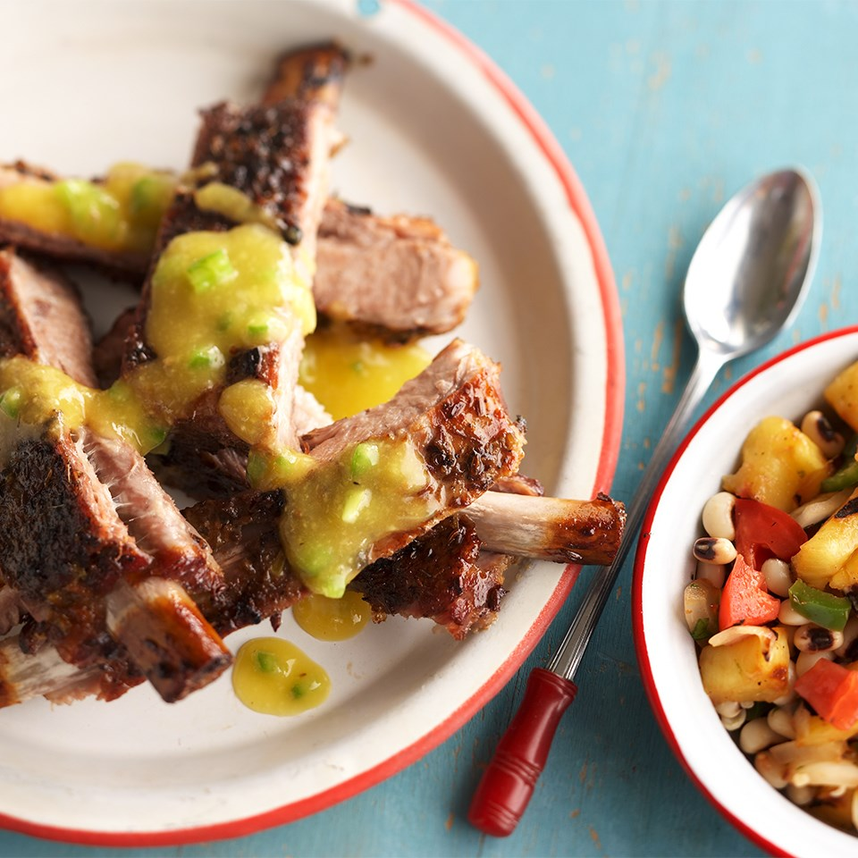 Floribbean Ribs with Black-Eyed Pea & Pineapple Salsa