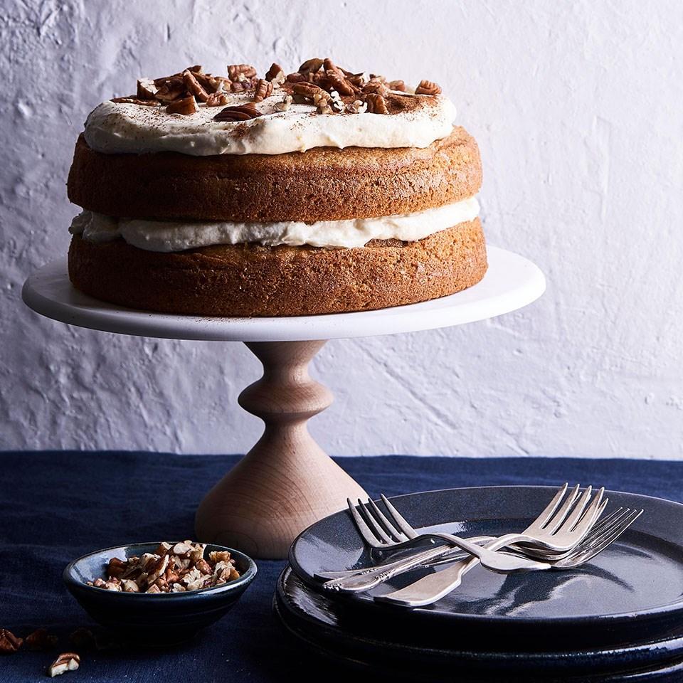 Sweet Potato Spice Cake with Orange-Cinnamon Cream Cheese Frosting