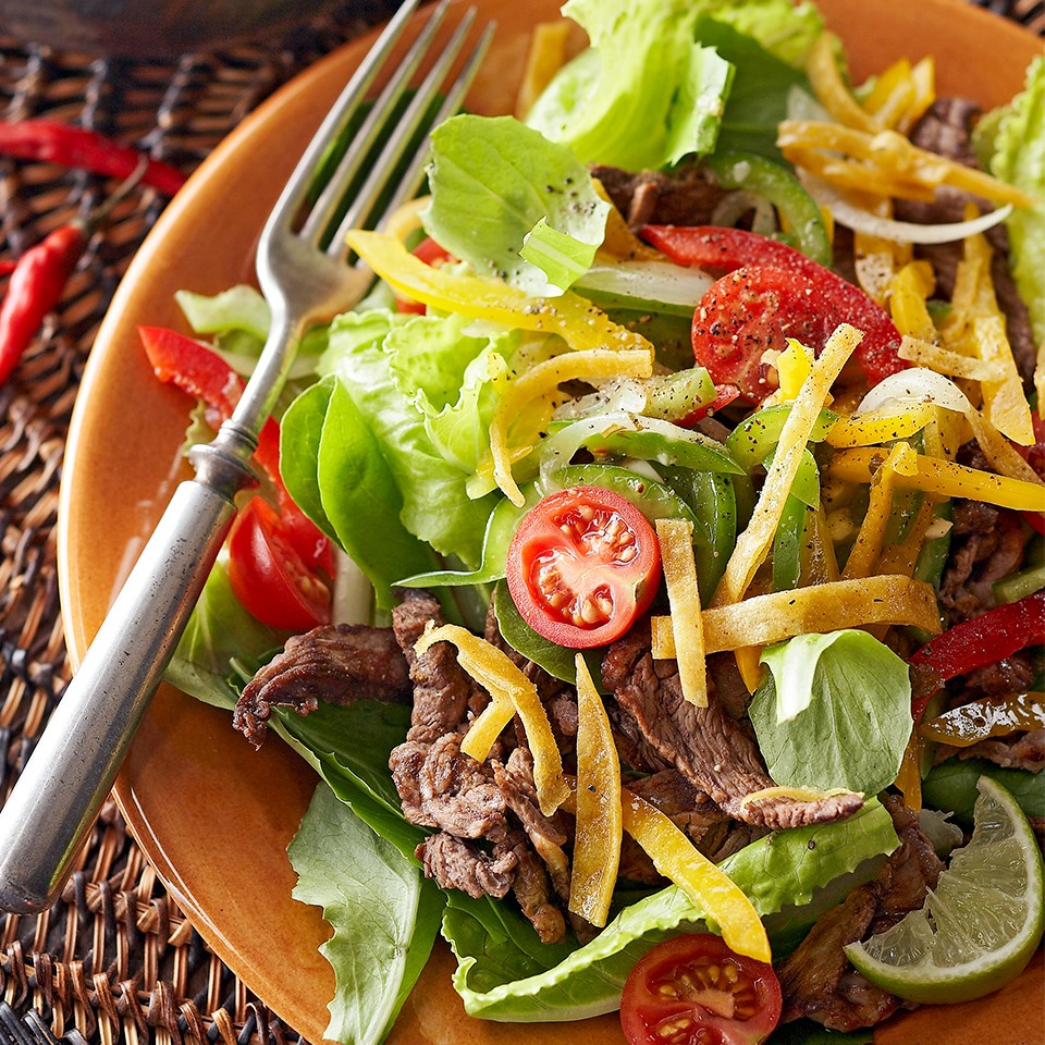 Warm Fajita Salad with Baked Tortilla Strips