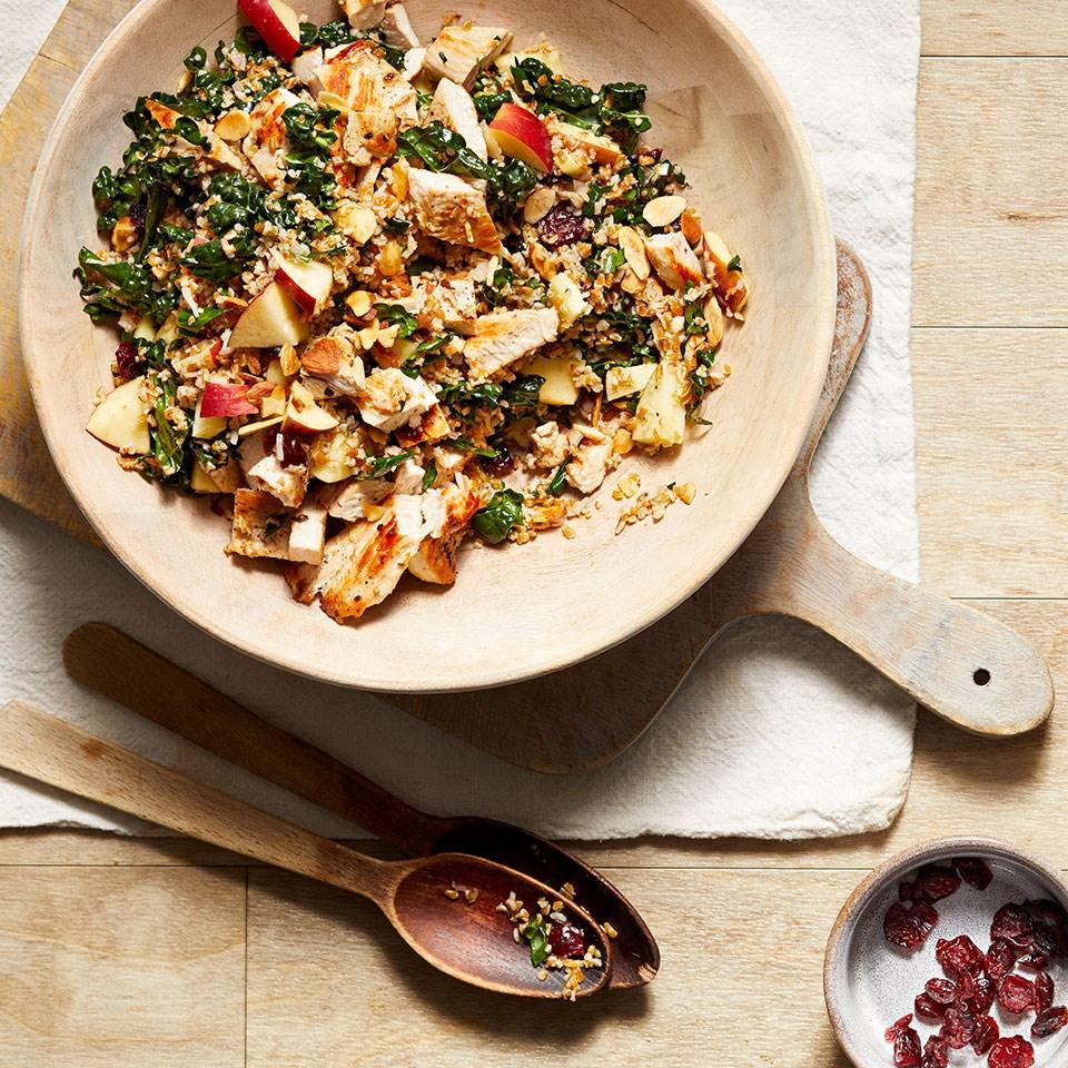 Kale, Cranberry & Bulgur Salad with Turkey