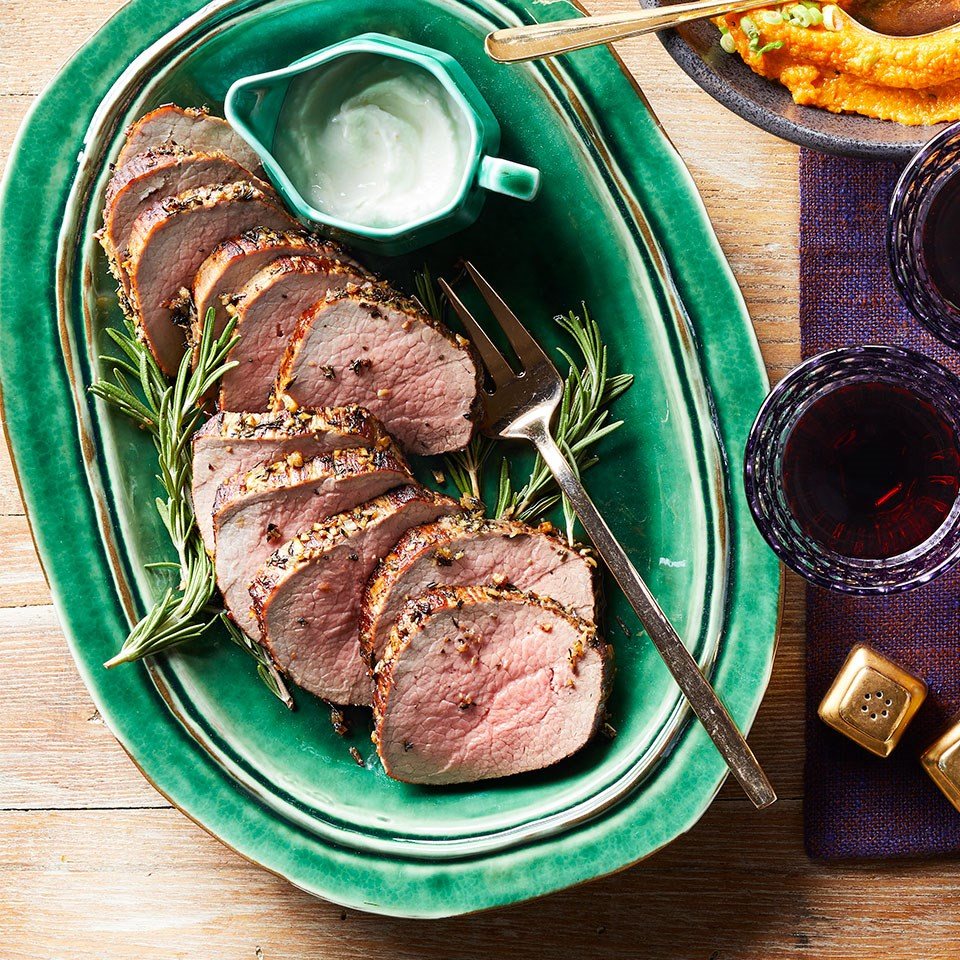 Garlic-Rosemary Roast Beef with Horseradish Sauce