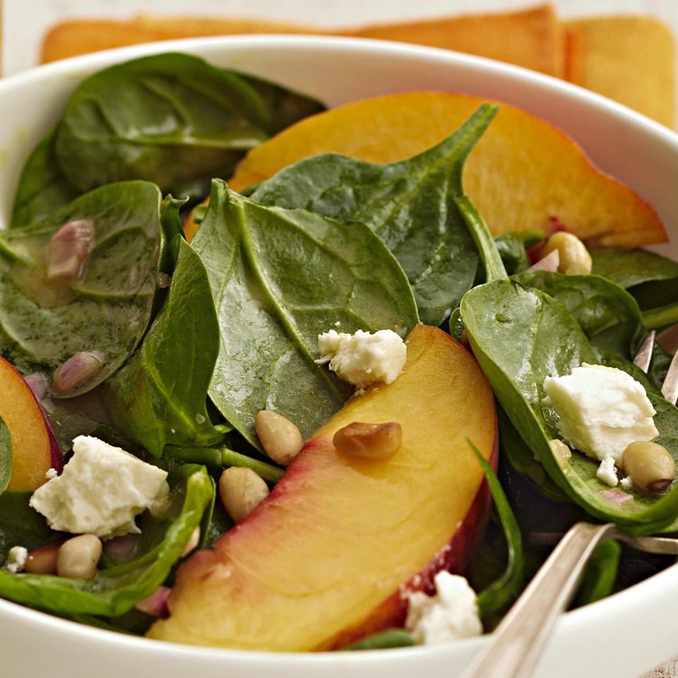 Peach & Spinach Salad with Feta