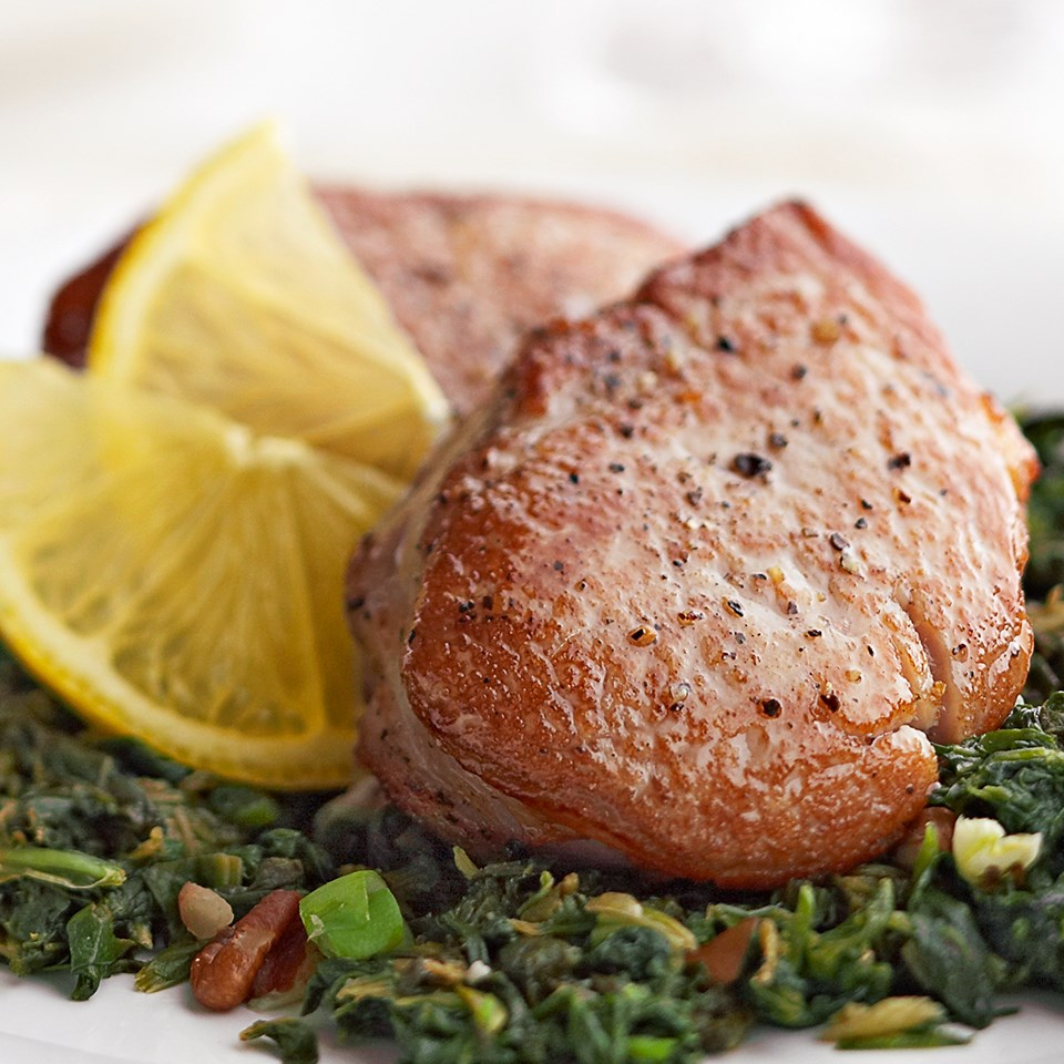 Pork Medallions with Lemon-Pecan Spinach