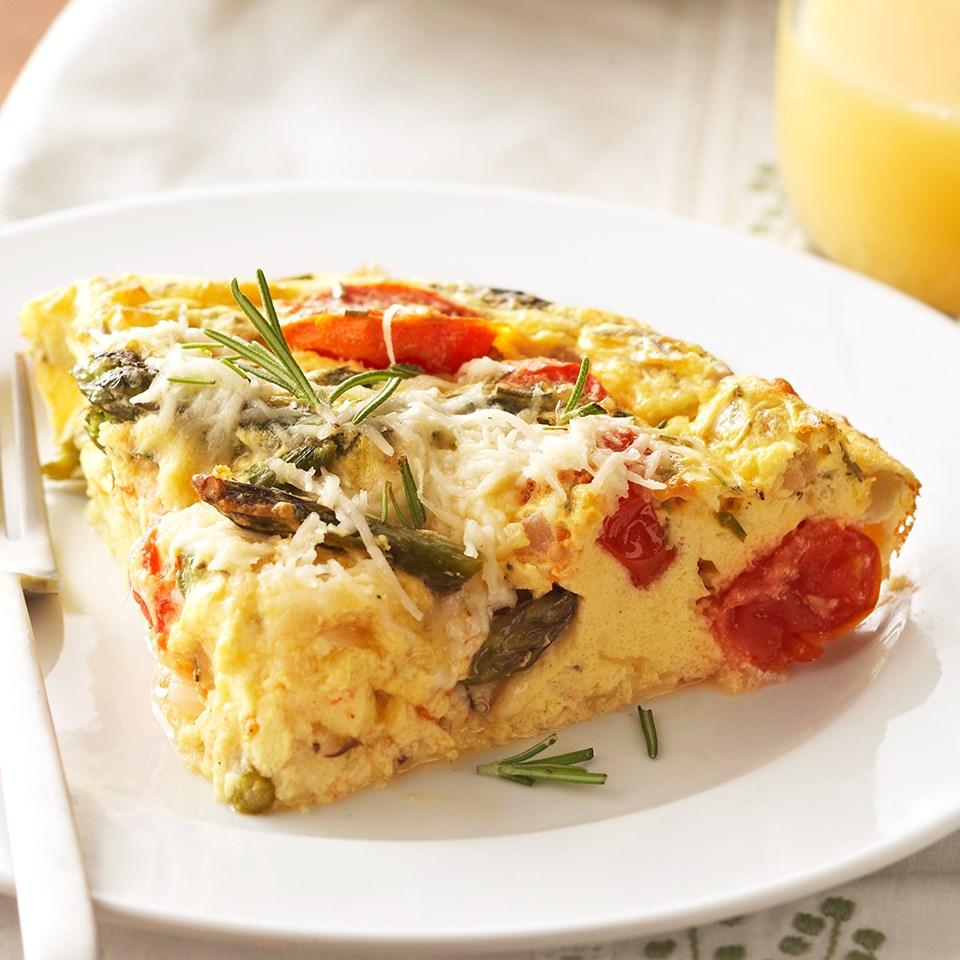 Roasted Tomato & Asparagus Crustless Quiche