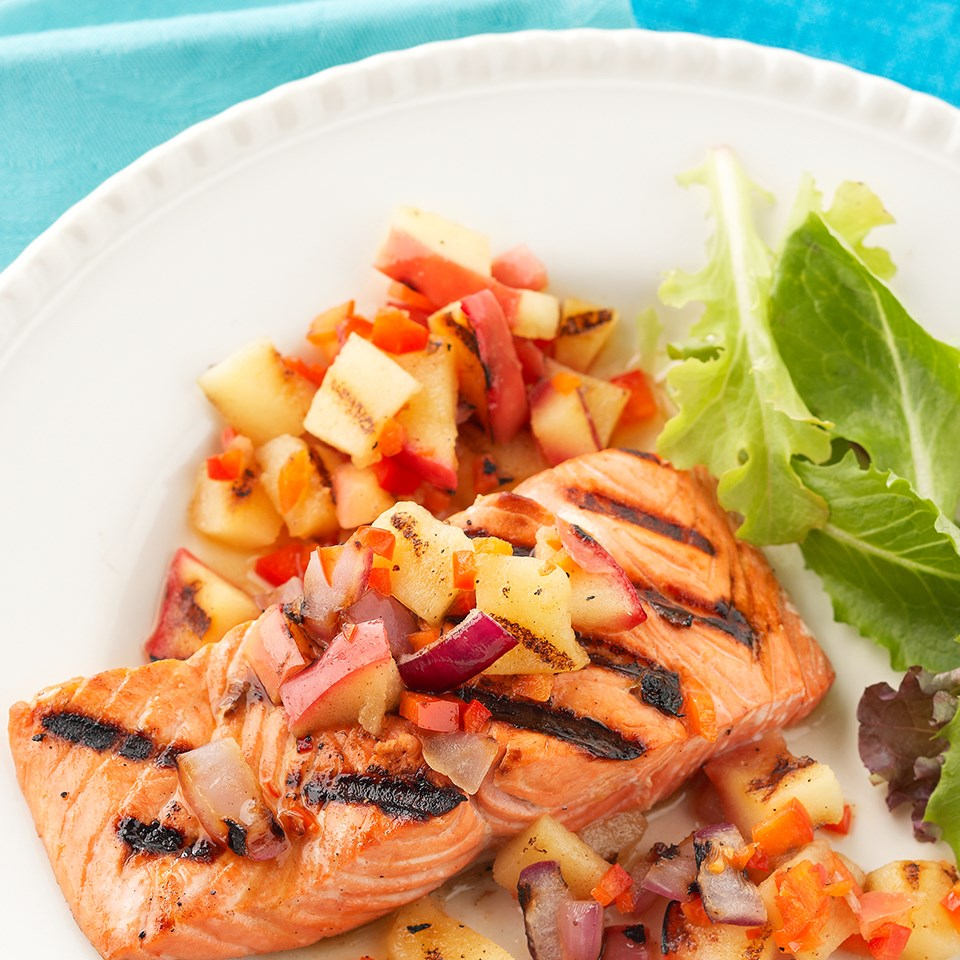 Grilled Salmon with Apple-Onion Relish