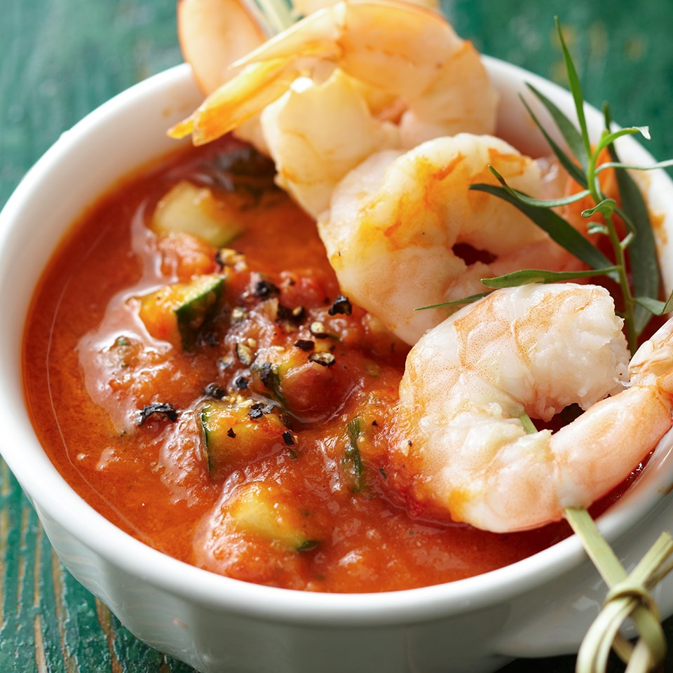 Roasted Tomato Gazpacho with Shrimp