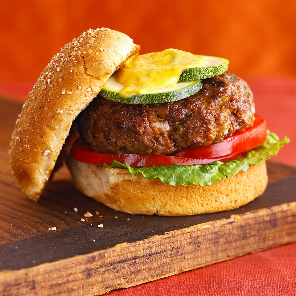 Grilled Burgers with Curry Mustard