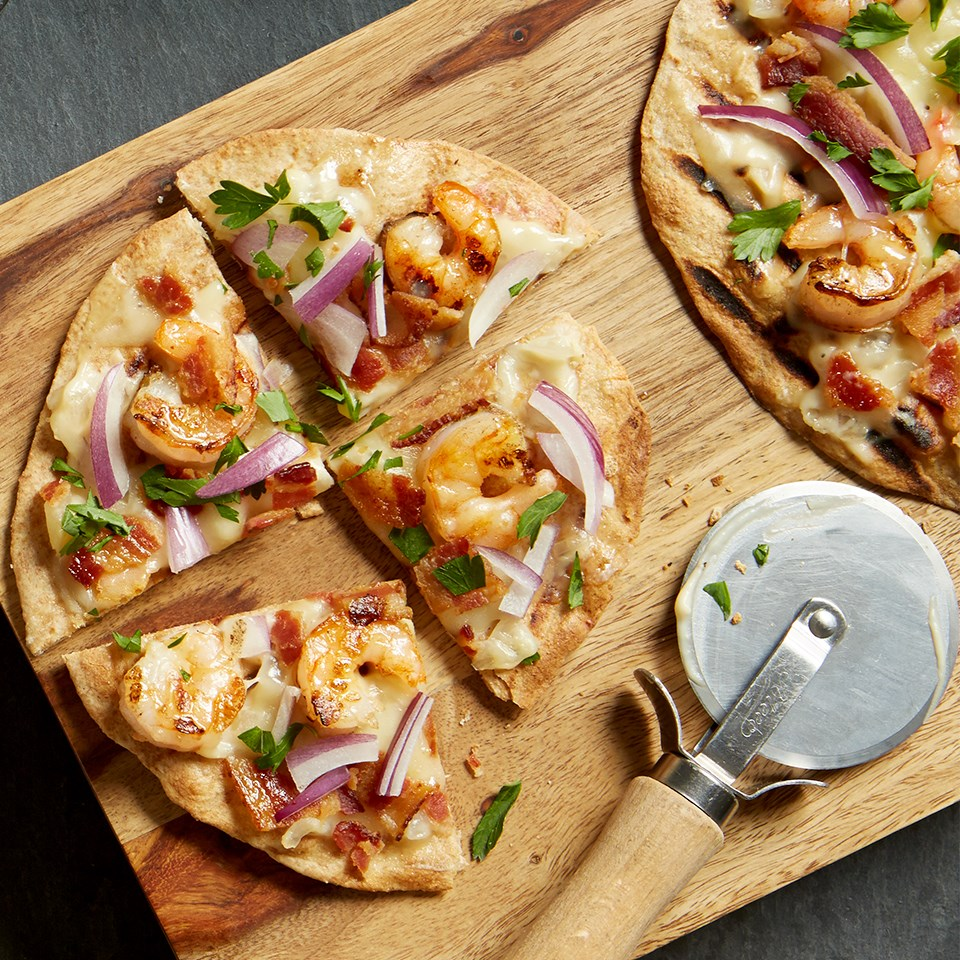 White Shrimp Pizza