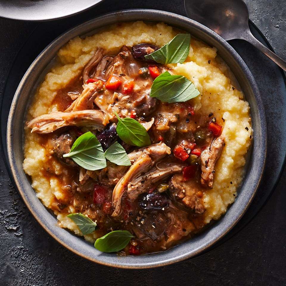 Slow-Cooker Chicken Cacciatore with Polenta