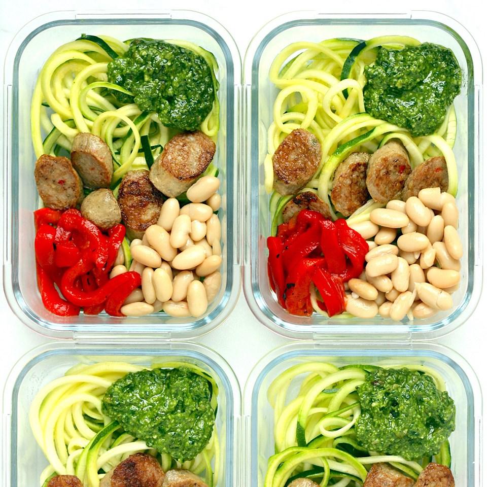 Zucchini Noodle Bowls with Chicken Sausage & Pesto
