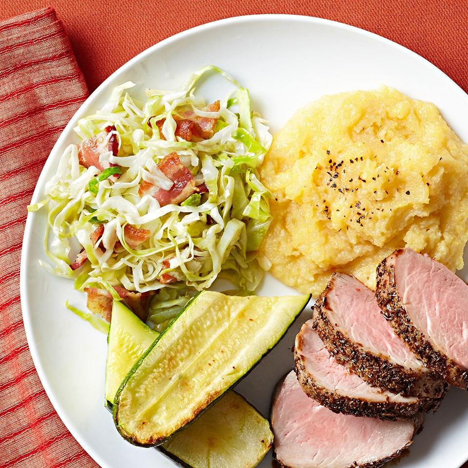 Roasted Pork Tenderloin with Pickled Cabbage & Polenta