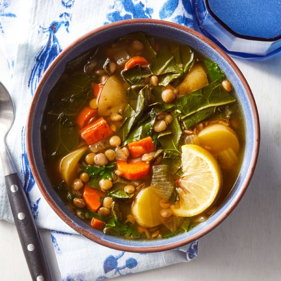 Lemony Lentil Soup with Collards