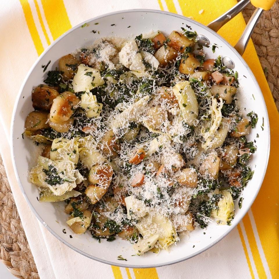 Spinach-Artichoke-Sausage Cauliflower Gnocchi