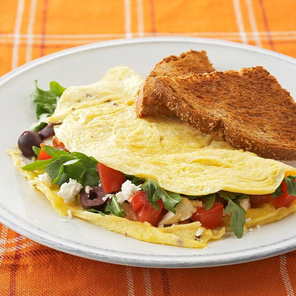 Tomato-Arugula Omelets