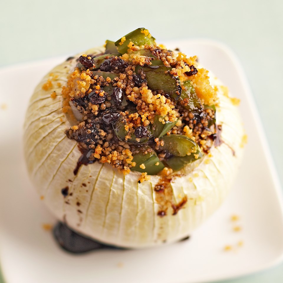 Stuffed Onions with Balsamic Drizzle