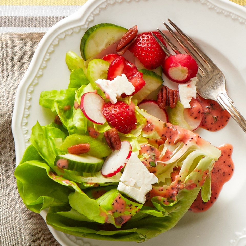 Spring Wedge Salad with Strawberry-Basil Vinaigrette
