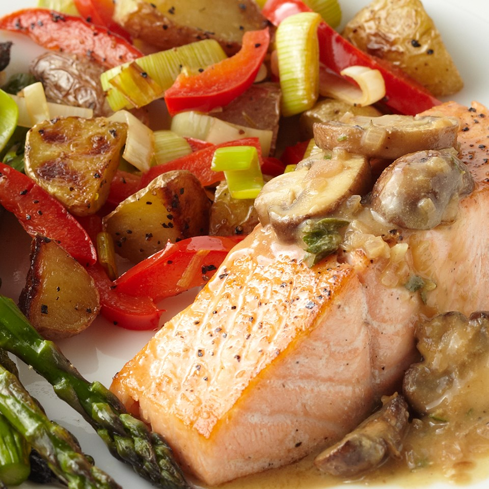 Seared Salmon with Mushroom-Shallot Sauce